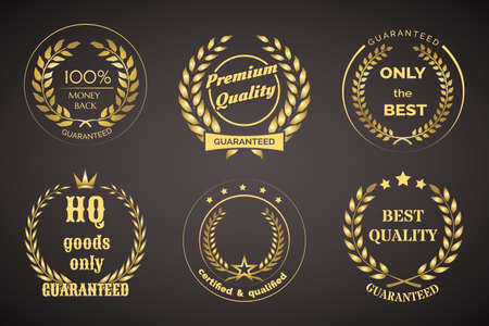 Gold Retro Guarantee Labels with Wreaths Isolated on Black Background.