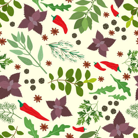 Vector illustration of fresh cooking herbs and spices in a seamless pattern with oregano  parsley  basil  rosemary  rocket  sage  bay   thyme  red hot chili pepper and peppercorns scattered on white Ilustração