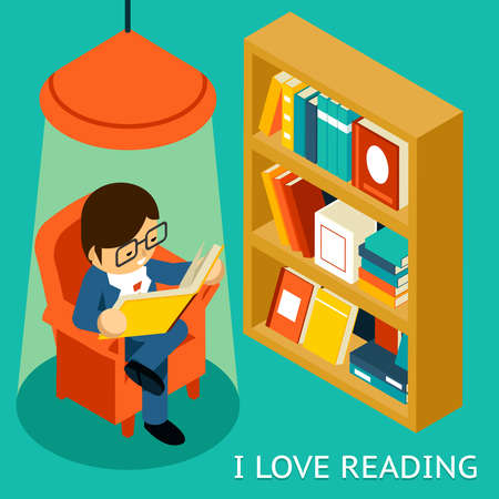 I love reading, 3d isometric illustration. Man sitting in  chair reading  book near bookshelf