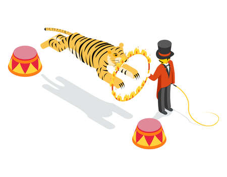 Tiger jumping through ring. Flat isometric 3d vector illustration. Fire and jump, show arena, striped and circle