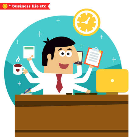 Business life. Multitasking and multipurpose businessman of all trades with coffee phone desk and computer vector illustration