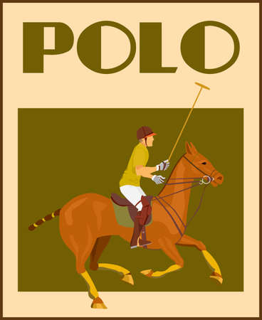 Sport polo club player in helmet with mallet on horseback poster vector illustration