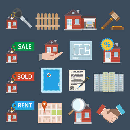 Real estate icons set of sale sold rent property apartment isolated vector illustration