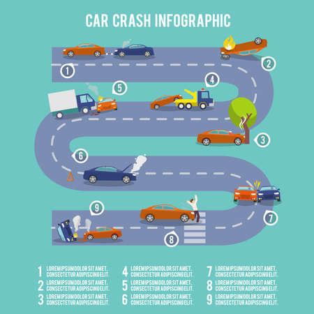 Car crash infographic set with damaged auto burning vehicle vector illustration
