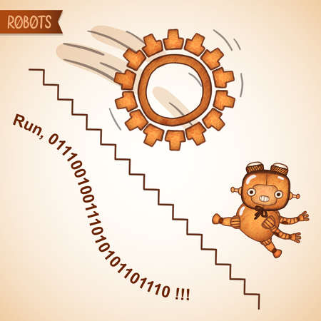 Abstract business run concept with funny robot vector illustration Vector Illustratie