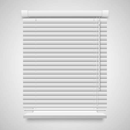 Realistic closed shutters window, front view vector illustration isolated on white
