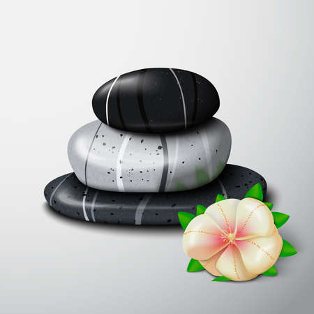 Spa stones with tropical flower still life isolated vector illustration