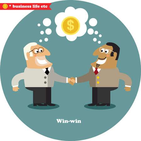 Business handshake on a big deal, win-win vector illustration