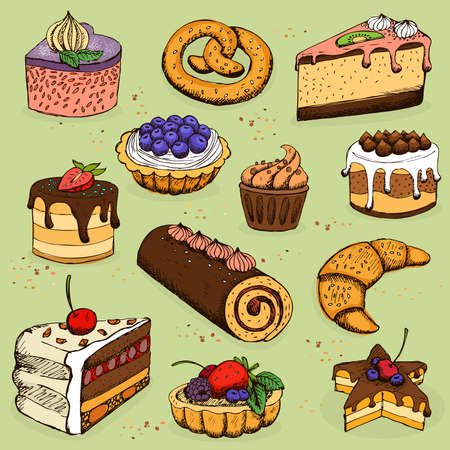 Pies and flour products for bakery, pastry, vector illustration