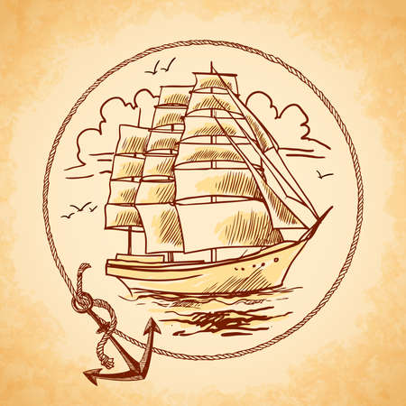 Sailing tall ship old wooden metal vessel nautical emblem with rope frame and anchor vector illustration