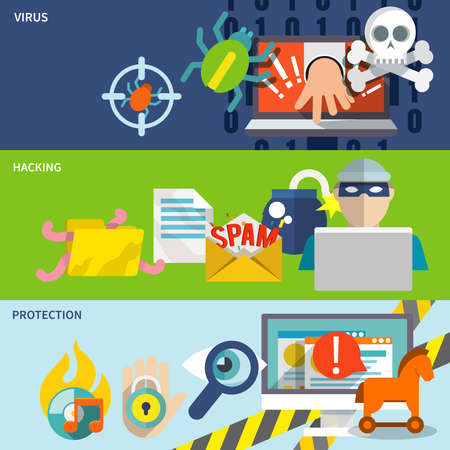 Hacker flat banner set with hacking virus protection isolated vector illustration