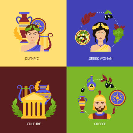 Greece flat icons set with olympic greek woman culture isolated vector illustration Illustration