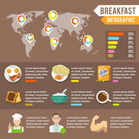 Breakfast fresh food and drinks infographic set with cook doctor athlete and world map vector illustration