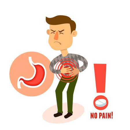 Sick stomach ache male person character with pill vector illustration