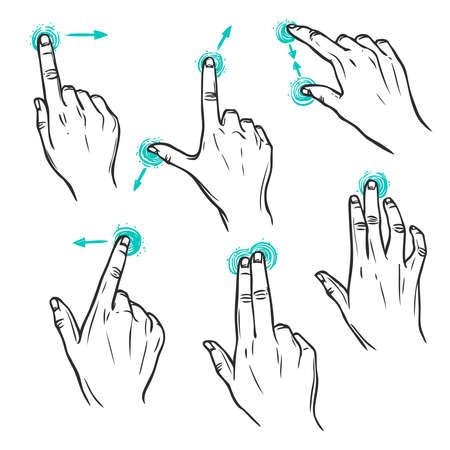 Touch screen interface hand gestures decorative sketch icons set isolated vector illustration