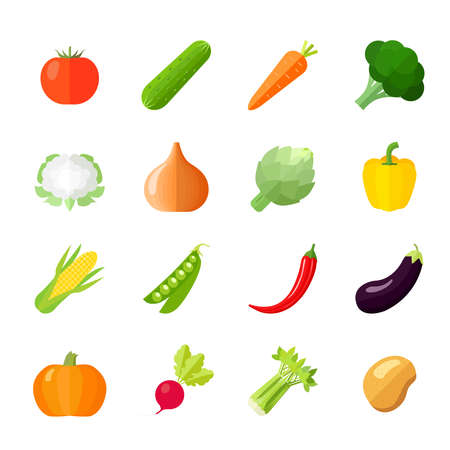 Vegetables icons flat set with cauliflower broccoli celery cabbage cucumber isolated vector illustration