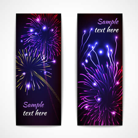 Firework show new year christmas celebration banner vertical flat set isolated vector illustration
