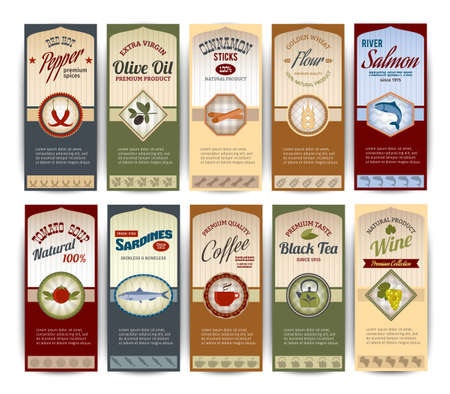 Food retro banners set with pepper olive oil sardines flour salmon isolated vector illustration