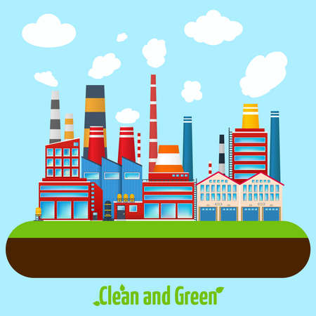 Clean and green manufacturing modern industry factory buildings poster vector illustration