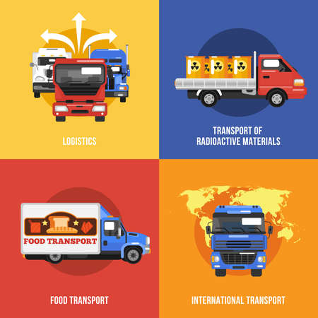 Truck icons flat set with logistics radioactive materials food international transport isolated vector illustration