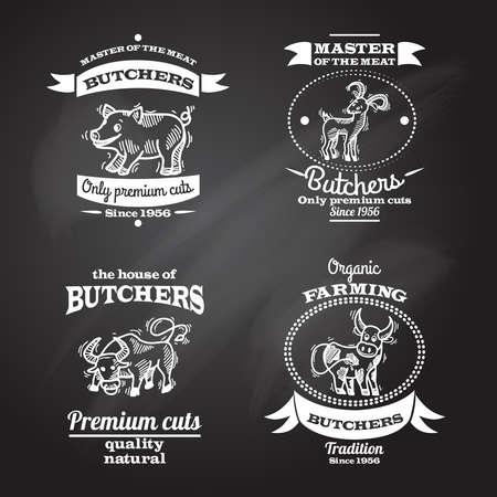 Farm animals premium organic meat chalkboard label set isolated vector illustration