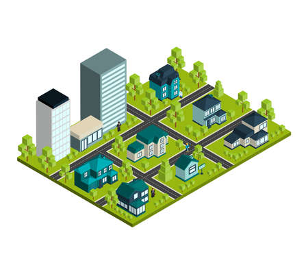 Real estate isometric concept with 3d city district and rental houses vector illustration
