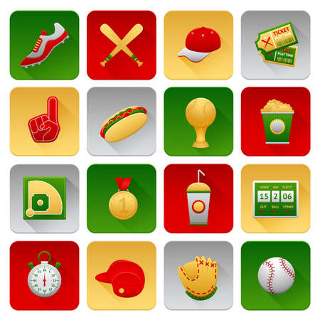 Baseball sport icons set with glove field hotdog hat isolated vector illustration