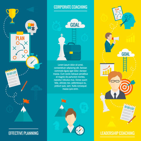 Coaching business flat vertical banner set with leadership effective planning corporate elements isolated vector illustration Vecteurs