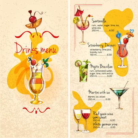 Restaurant bar wine cocktails and alcoholic drinks menu sketch vector illustration