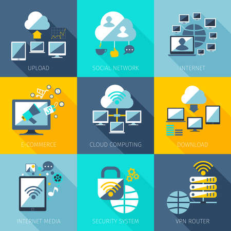 Network concept set with upload social network internet icons set isolated vector illustration