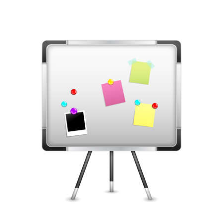 Board with sticker notice and magnets isolated on white background vector illustration
