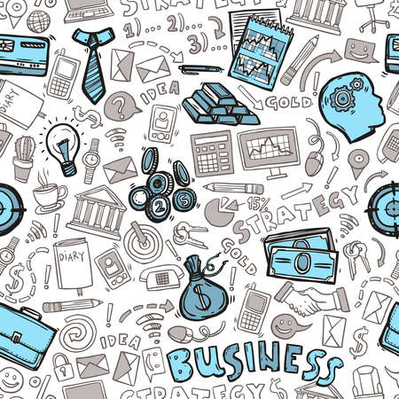 Business strategy marketing and investment hand drawn seamless pattern vector illustration