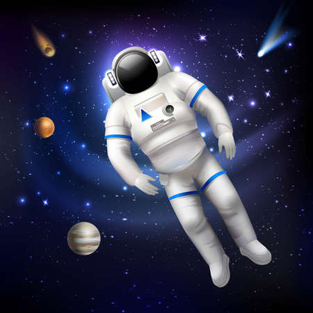 Professional spaceman astronaut in costume floating in outer space vector illustration