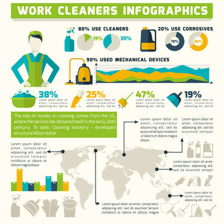 Cleaning infographics set with household washing symbols and charts vector illustration