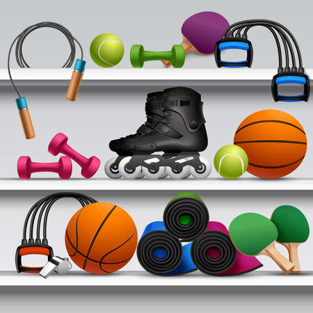 Sport store shelf with fitness equipment balls and rackets vector illustration