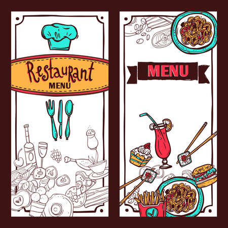 Fast food restaurant menu symbols with sushi and spaghetti vertical banners set doodle abstract isolated vector illustration