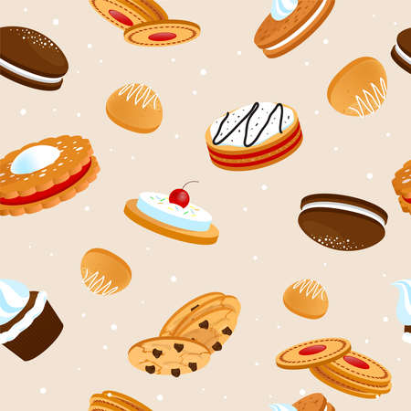 Cookies and biscuits seamless pattern with cupcakes cakes and crunchy desserts with fruits vector illustration