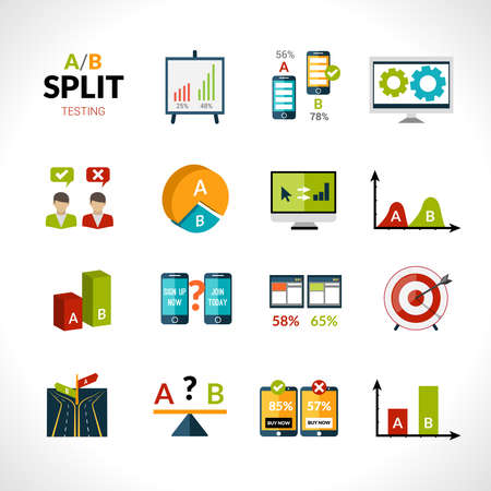 A-b testing seo sample comparison research icons set isolated vector illustration