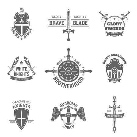 Vintage heraldic coat of arms labels set with swords and guardian shields emblems icons isolated vector illustration