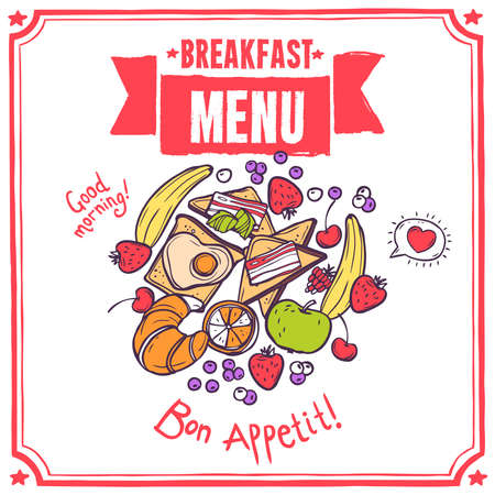 Breakfast sketch restaurant menu with fruits bacon and eggs toasts croissant vector illustration