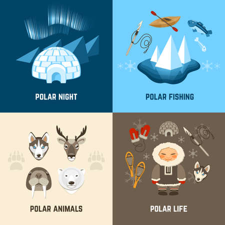 Chukchi design concept set with polar night fishing animals and life flat icons isolated vector illustration