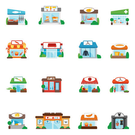 Store and shop buildings commercial restaurants flat icons set isolated vector illustration