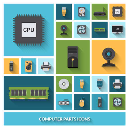 Computer parts decorative icons set with processor camera keyboard isolated vector illustration