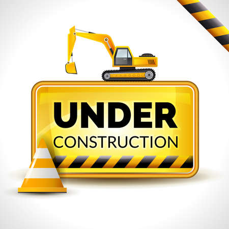 Under construction poster with warning sign and yellow reconstruction cone vector illustration