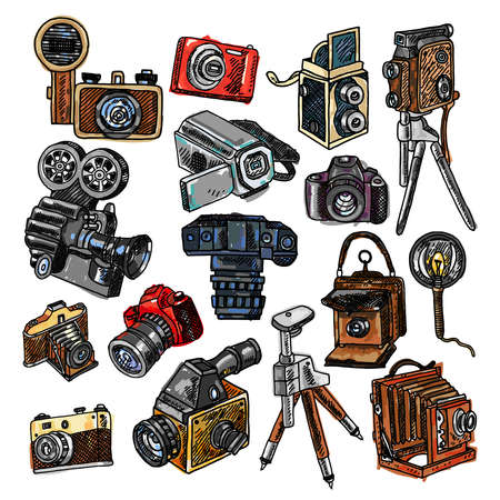 Old mechanical film and automatic modern digital reflex cameras icons collection abstract color doodle sketch vector illustration Ilustração