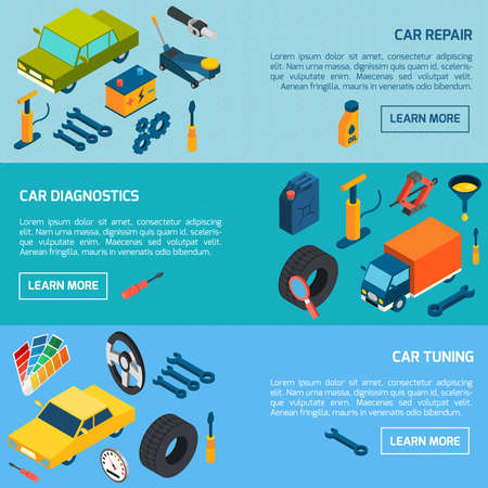 Car diagnostics repair and tuning with parts and consumables isometric horizontal banners set isolated vector illustration