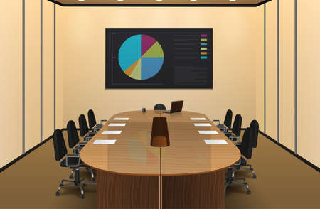Conference room interior realistic design with chart on the screen vector illustration