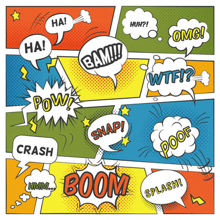 Emotional and sound comic bubbles set with boom splash and omg flat vector illustration