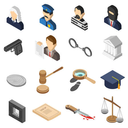 Heist robbers and police court lawyer and justice 3d isometric color icon set isolated vector illustration