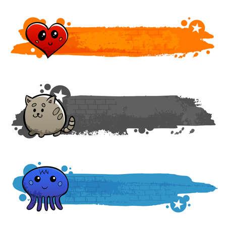 Graffiti cartoon cat octopus and heart characters flat color horizontal banner set isolated vector illustration Ilustración de vector